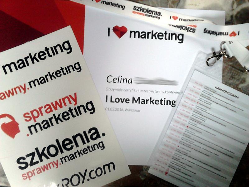 certyfikat uczestnictwa I Love Marketing